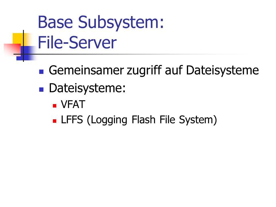 Base Subsystem: File-Server Gemeinsamer zugriff auf Dateisysteme Dateisysteme: VFAT LFFS (Logging Flash File System)
