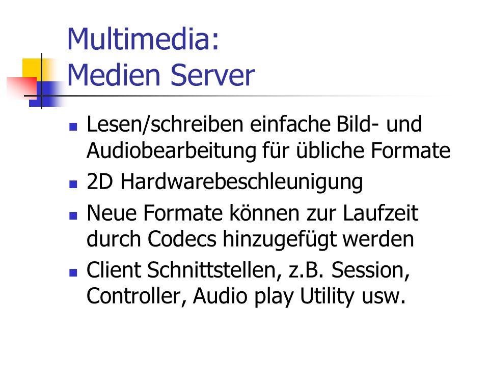 Multimedia: Medien Server Lesen/schreiben einfache Bild- und Audiobearbeitung für übliche Formate 2D Hardwarebeschleunigung Neue Formate können zur Laufzeit durch Codecs hinzugefügt werden Client Schnittstellen, z.B.