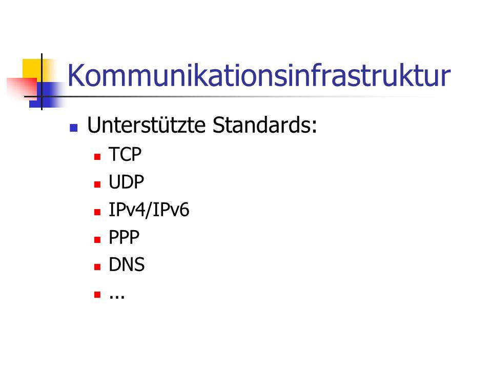 Kommunikationsinfrastruktur Unterstützte Standards: TCP UDP IPv4/IPv6 PPP DNS...