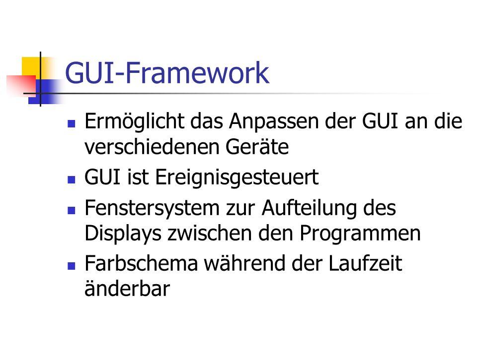 GUI-Framework Ermöglicht das Anpassen der GUI an die verschiedenen Geräte GUI ist Ereignisgesteuert Fenstersystem zur Aufteilung des Displays zwischen den Programmen Farbschema während der Laufzeit änderbar