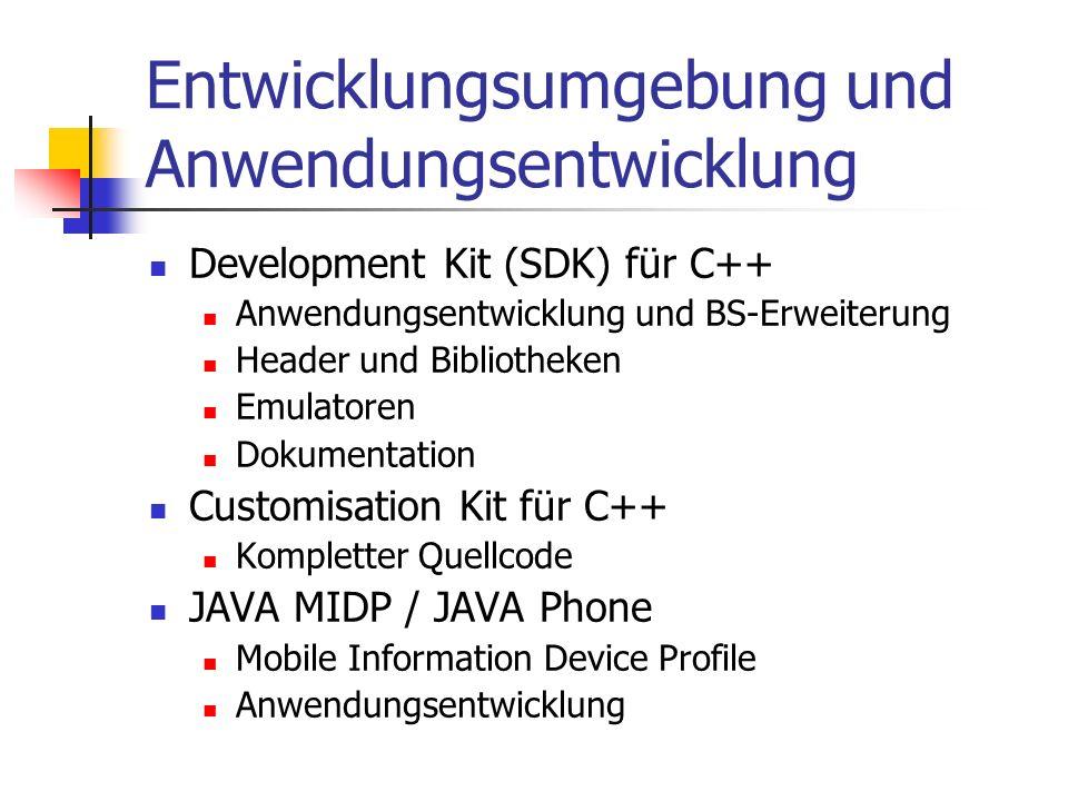 Entwicklungsumgebung und Anwendungsentwicklung Development Kit (SDK) für C++ Anwendungsentwicklung und BS-Erweiterung Header und Bibliotheken Emulatoren Dokumentation Customisation Kit für C++ Kompletter Quellcode JAVA MIDP / JAVA Phone Mobile Information Device Profile Anwendungsentwicklung