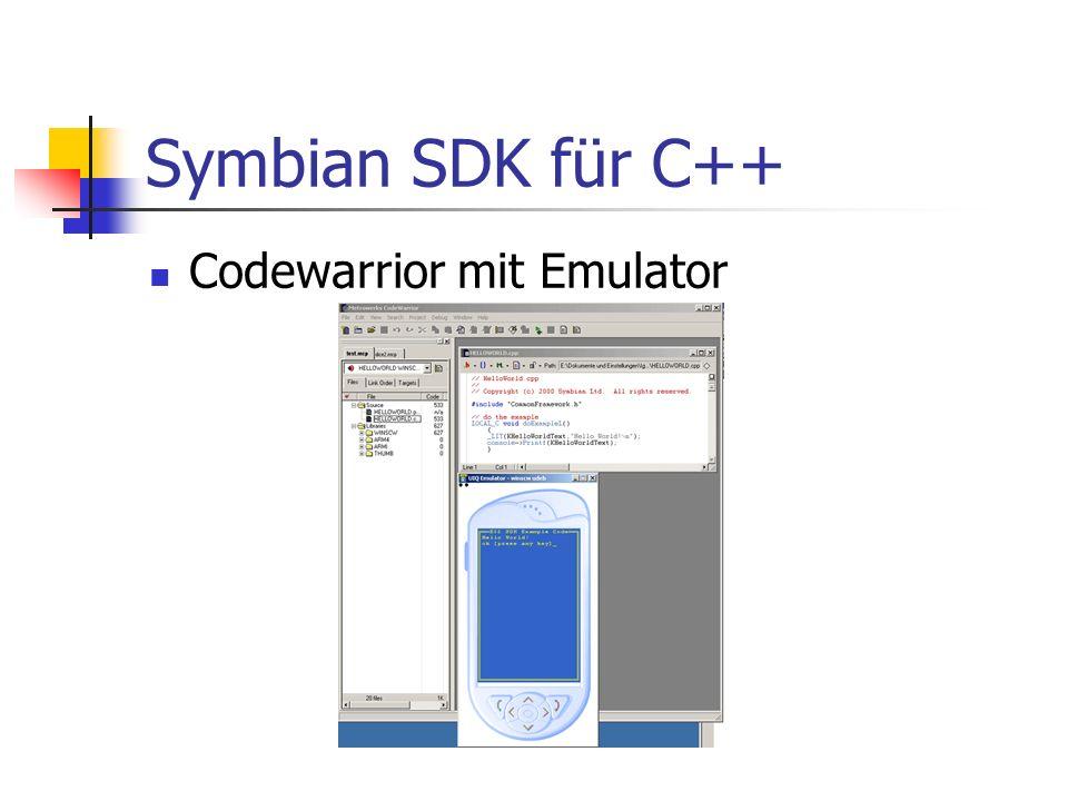 Symbian SDK für C++ Codewarrior mit Emulator