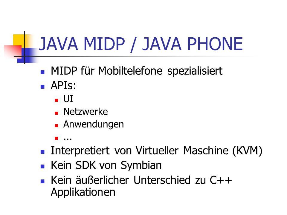 JAVA MIDP / JAVA PHONE MIDP für Mobiltelefone spezialisiert APIs: UI Netzwerke Anwendungen...