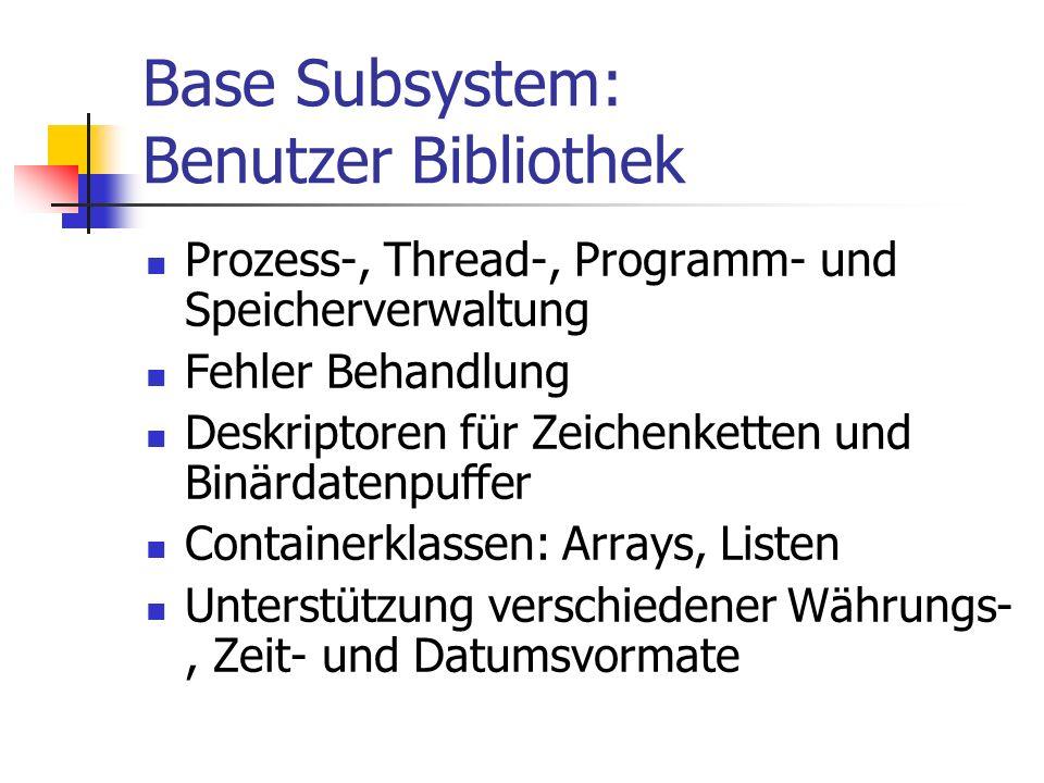 Base Subsystem: Benutzer Bibliothek Prozess-, Thread-, Programm- und Speicherverwaltung Fehler Behandlung Deskriptoren für Zeichenketten und Binärdatenpuffer Containerklassen: Arrays, Listen Unterstützung verschiedener Währungs-, Zeit- und Datumsvormate