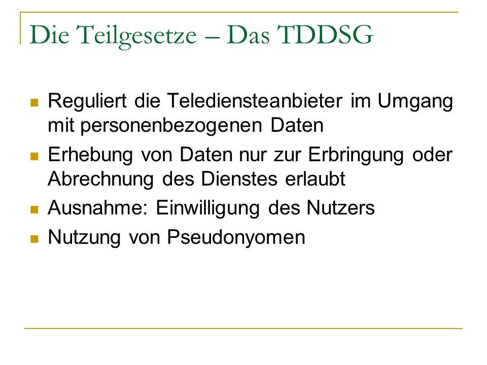 Die Teilgesetze – Das TDDSG Reguliert die Telediensteanbieter im Umgang mit personenbezogenen Daten Erhebung von Daten nur zur Erbringung oder Abrechn