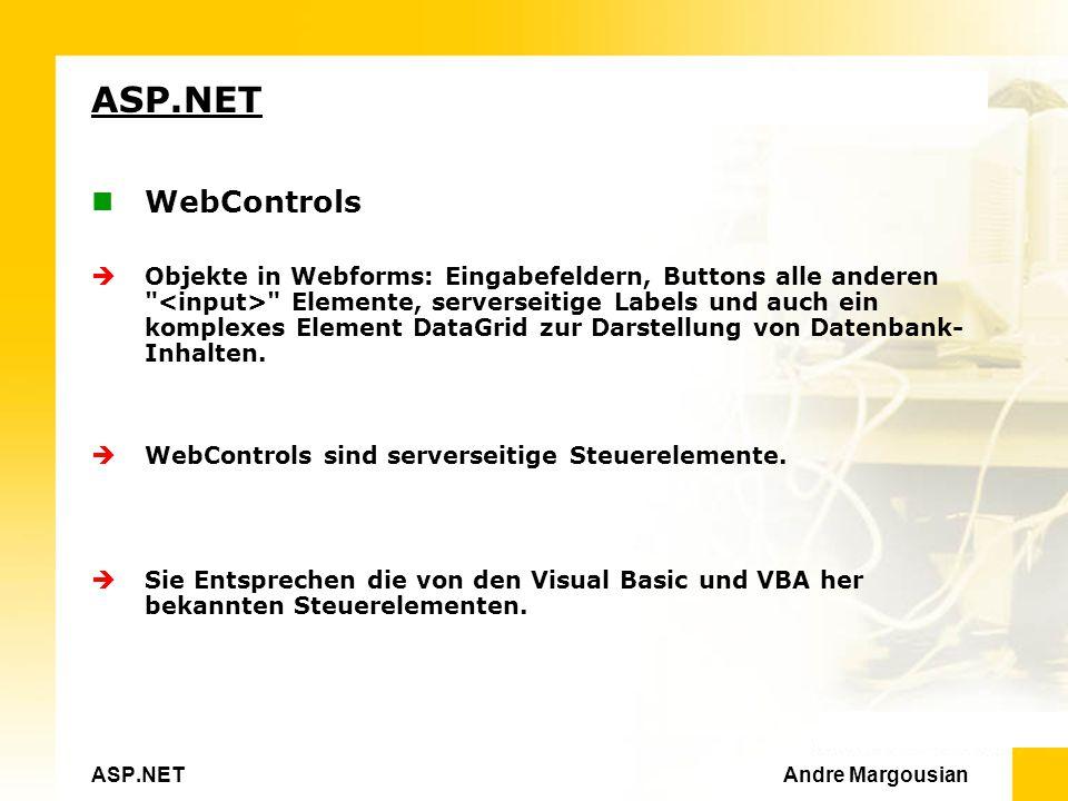 ASP.NET Andre Margousian ASP.NET WebControls Objekte in Webforms: Eingabefeldern, Buttons alle anderen Elemente, serverseitige Labels und auch ein komplexes Element DataGrid zur Darstellung von Datenbank- Inhalten.