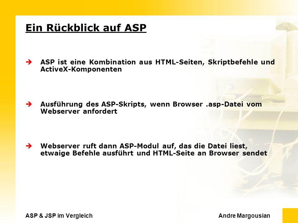 ASP & JSP im Vergleich Andre Margousian Ein Rückblick auf ASP ASP ist eine Kombination aus HTML-Seiten, Skriptbefehle und ActiveX-Komponenten Ausführung des ASP-Skripts, wenn Browser.asp-Datei vom Webserver anfordert Webserver ruft dann ASP-Modul auf, das die Datei liest, etwaige Befehle ausführt und HTML-Seite an Browser sendet