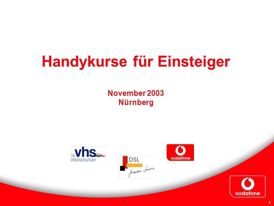 1 1 Handykurse für Einsteiger November 2003 Nürnberg