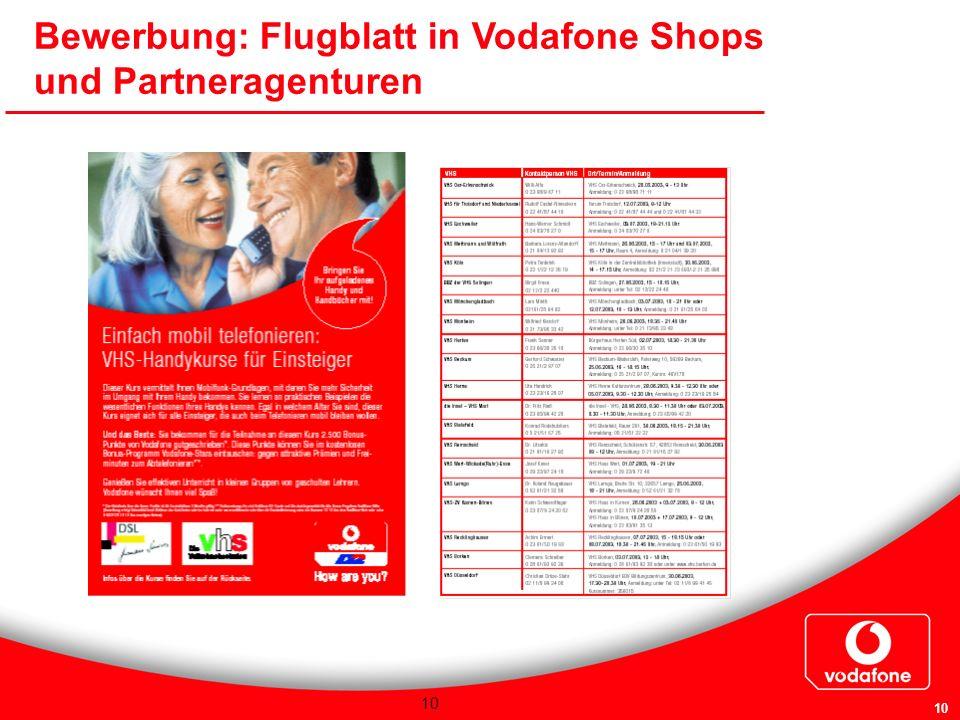 10 Bewerbung: Flugblatt in Vodafone Shops und Partneragenturen