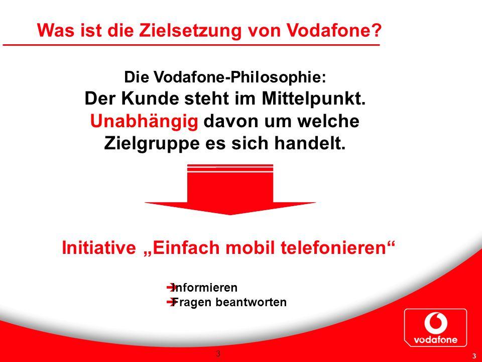3 3 Die Vodafone-Philosophie: Der Kunde steht im Mittelpunkt. Unabhängig davon um welche Zielgruppe es sich handelt. Was ist die Zielsetzung von Vodaf