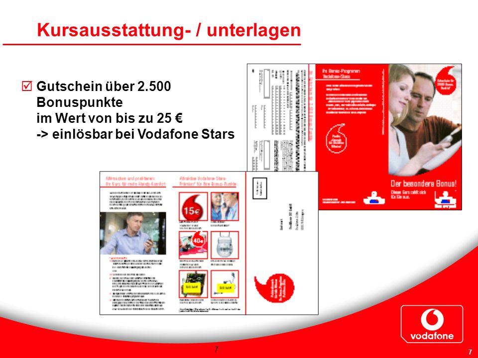 7 7 Gutschein über 2.500 Bonuspunkte im Wert von bis zu 25 -> einlösbar bei Vodafone Stars Kursausstattung- / unterlagen