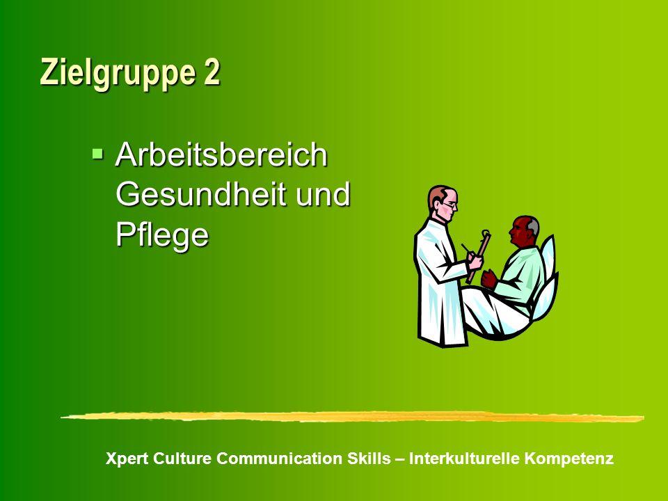 Xpert Culture Communication Skills – Interkulturelle Kompetenz Zielgruppe 2 Arbeitsbereich Gesundheit und Pflege Arbeitsbereich Gesundheit und Pflege