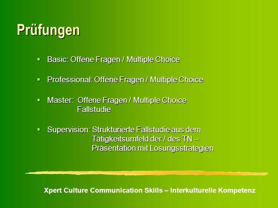Xpert Culture Communication Skills – Interkulturelle Kompetenz Prüfungen Basic: Offene Fragen / Multiple Choice Basic: Offene Fragen / Multiple Choice