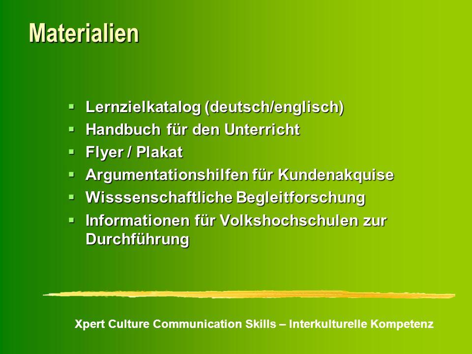 Xpert Culture Communication Skills – Interkulturelle Kompetenz Materialien Lernzielkatalog (deutsch/englisch) Lernzielkatalog (deutsch/englisch) Handb