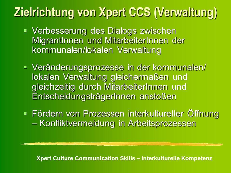 Xpert Culture Communication Skills – Interkulturelle Kompetenz Zielrichtung von Xpert CCS (Verwaltung) Verbesserung des Dialogs zwischen MigrantInnen