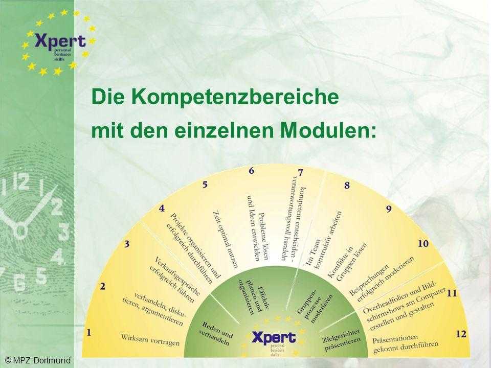 Die vier Kompetenzbereiche im Überblick Reden und verhandeln Effektiv planen und organisieren Gruppenprozesse moderieren Zielgerichtet präsentieren © MPZ Dortmund