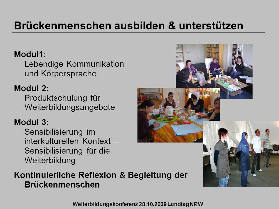 Brückenmenschen ausbilden & unterstützen Modul1: Lebendige Kommunikation und Körpersprache Modul 2: Produktschulung für Weiterbildungsangebote Modul 3