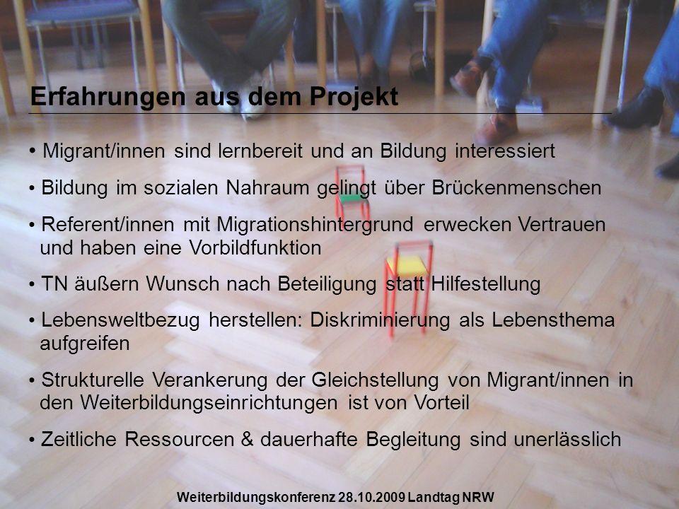 Erfahrungen aus dem Projekt Migrant/innen sind lernbereit und an Bildung interessiert Bildung im sozialen Nahraum gelingt über Brückenmenschen Referen