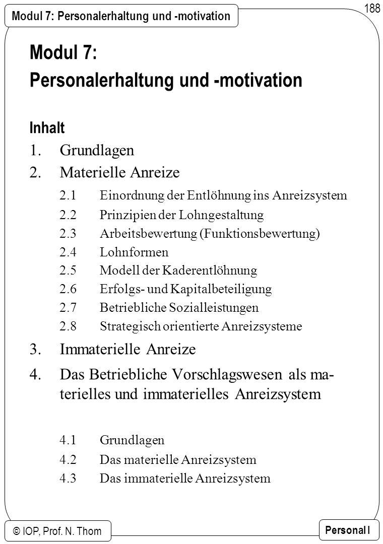 Modul 7: Personalerhaltung und -motivation © IOP, Prof. N. Thom Personal I 188 Modul 7: Personalerhaltung und -motivation Inhalt 1.Grundlagen 2.Materi