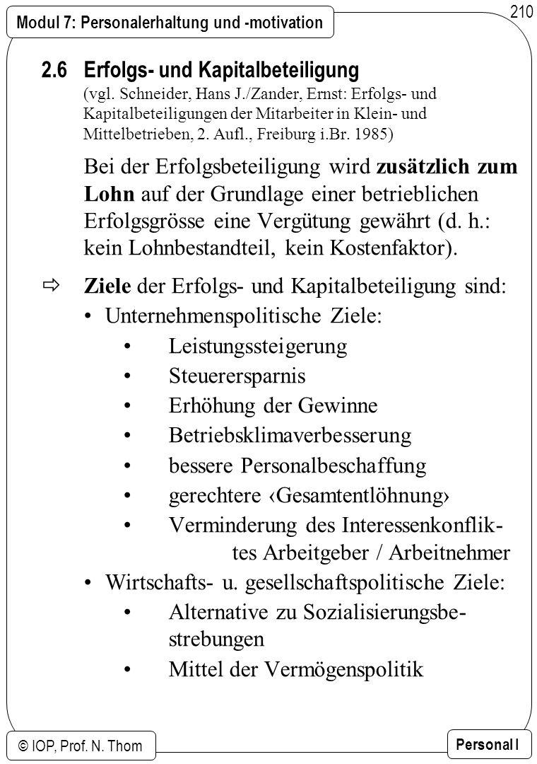 Modul 7: Personalerhaltung und -motivation © IOP, Prof. N. Thom Personal I 210 2.6 Erfolgs- und Kapitalbeteiligung (vgl. Schneider, Hans J./Zander, Er