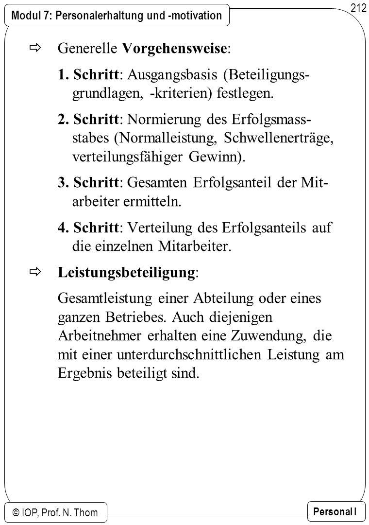 Modul 7: Personalerhaltung und -motivation © IOP, Prof. N. Thom Personal I 212 Generelle Vorgehensweise: 1. Schritt: Ausgangsbasis (Beteiligungs- grun