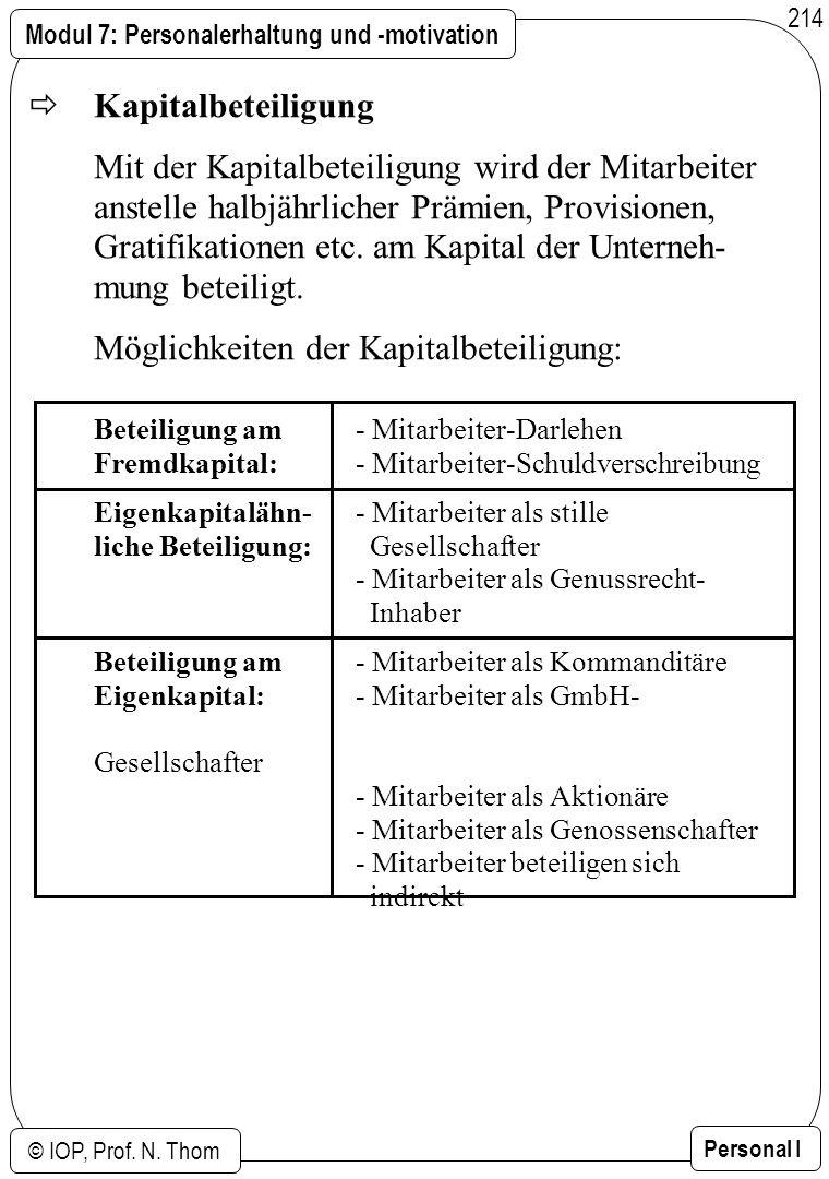 Modul 7: Personalerhaltung und -motivation © IOP, Prof. N. Thom Personal I 214 Kapitalbeteiligung Mit der Kapitalbeteiligung wird der Mitarbeiter anst