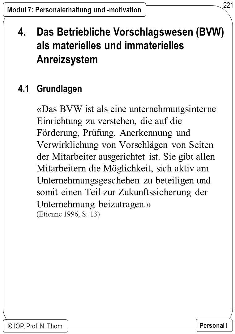Modul 7: Personalerhaltung und -motivation © IOP, Prof. N. Thom Personal I 221 4. Das Betriebliche Vorschlagswesen (BVW) als materielles und immaterie