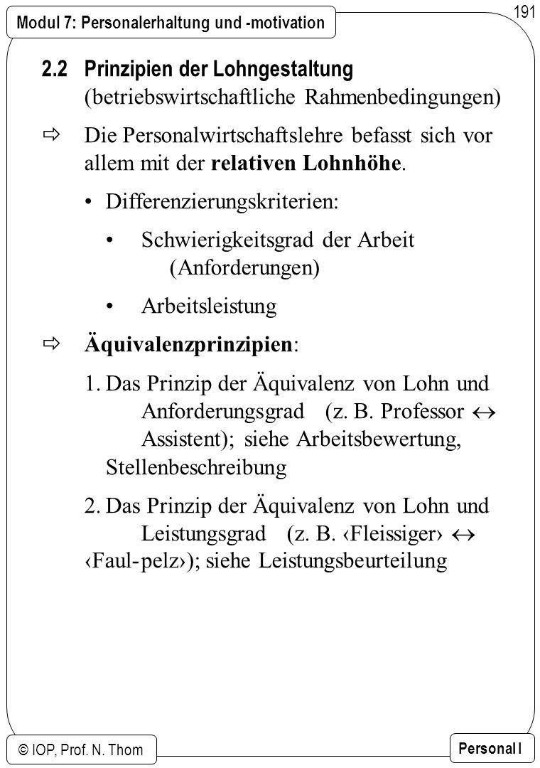 Modul 7: Personalerhaltung und -motivation © IOP, Prof. N. Thom Personal I 191 2.2 Prinzipien der Lohngestaltung (betriebswirtschaftliche Rahmenbeding
