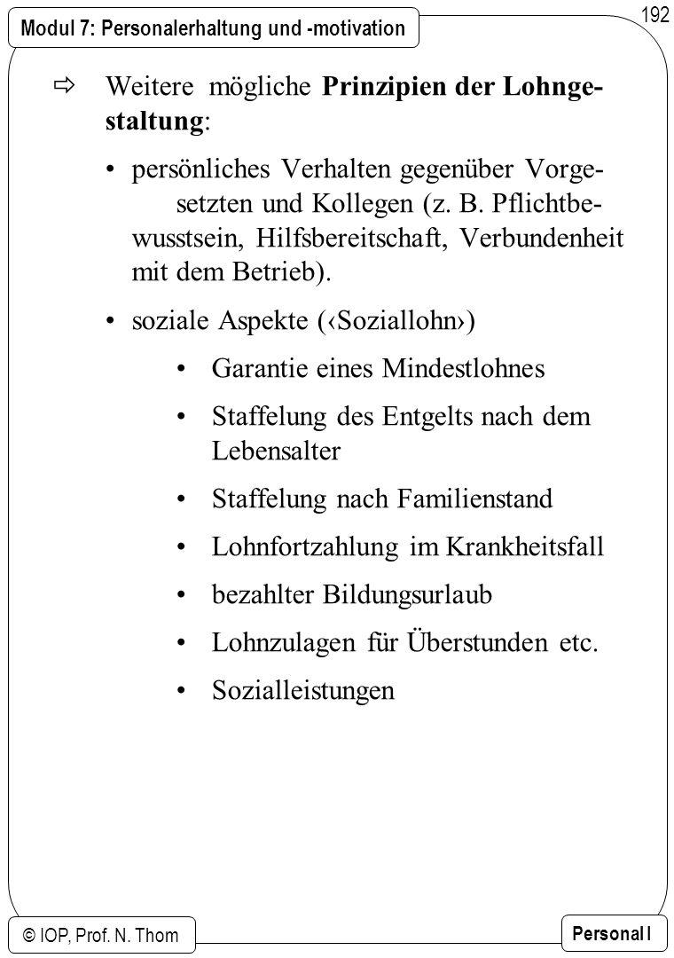 Modul 7: Personalerhaltung und -motivation © IOP, Prof. N. Thom Personal I 192 Weitere mögliche Prinzipien der Lohnge- staltung: persönliches Verhalte