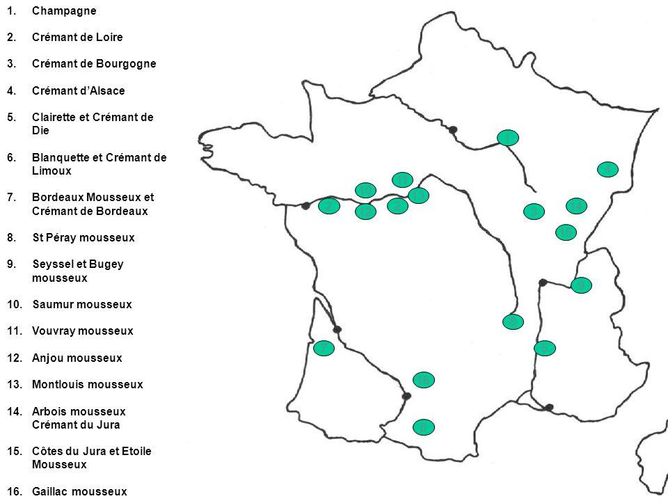 1.Champagne 2.Crémant de Loire 3.Crémant de Bourgogne 4.Crémant dAlsace 5.Clairette et Crémant de Die 6.Blanquette et Crémant de Limoux 7.Bordeaux Mou