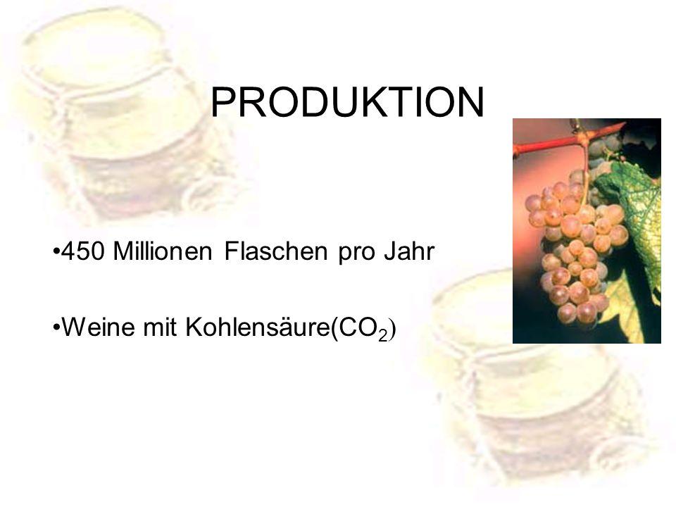 450 Millionen Flaschen pro Jahr Weine mit Kohlensäure(CO 2 ) PRODUKTION