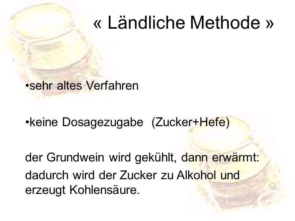 sehr altes Verfahren keine Dosagezugabe (Zucker+Hefe) der Grundwein wird gekühlt, dann erwärmt: dadurch wird der Zucker zu Alkohol und erzeugt Kohlens