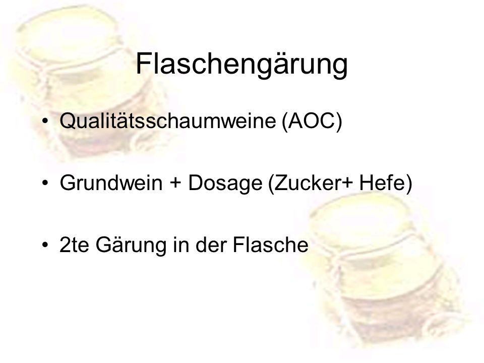 Flaschengärung Qualitätsschaumweine (AOC) Grundwein + Dosage (Zucker+ Hefe) 2te Gärung in der Flasche