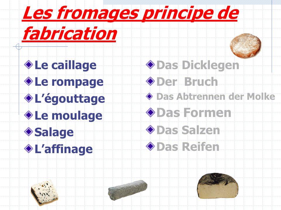 Les fromages principe de fabrication Le caillage Le rompage Légouttage Le moulage Salage Laffinage Das Dicklegen Der Bruch Das Abtrennen der Molke Das