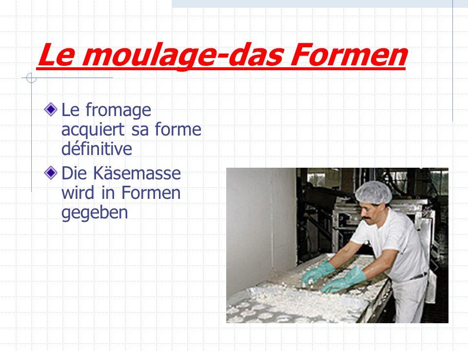 Le moulage-das Formen Le fromage acquiert sa forme définitive Die Käsemasse wird in Formen gegeben