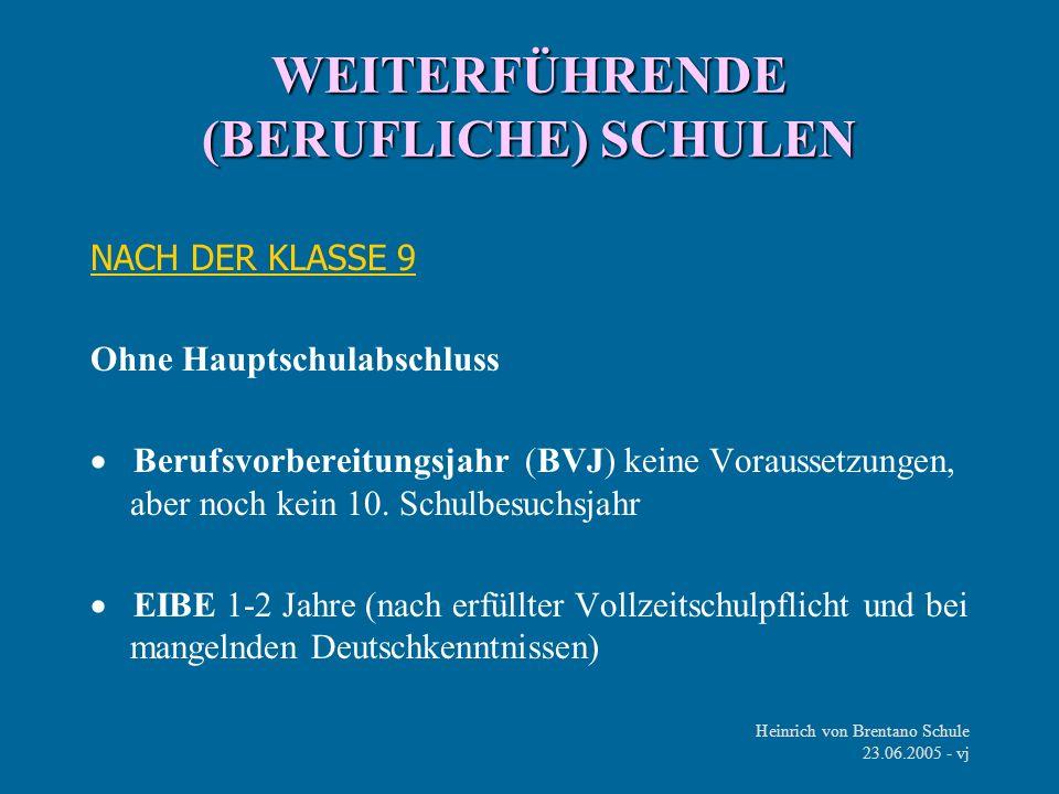 Heinrich von Brentano Schule 23.06.2005 - vj WEITERFÜHRENDE (BERUFLICHE) SCHULEN NACH DER KLASSE 9 Ohne Hauptschulabschluss Berufsvorbereitungsjahr (B