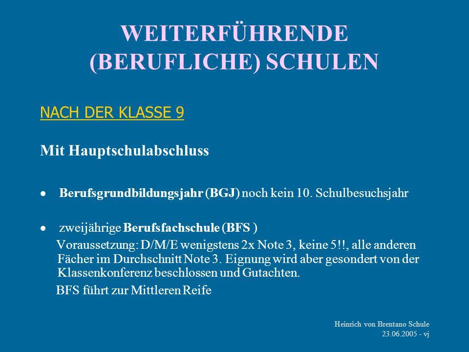 Heinrich von Brentano Schule 23.06.2005 - vj WEITERFÜHRENDE (BERUFLICHE) SCHULEN NACH DER KLASSE 9 Mit Hauptschulabschluss Berufsgrundbildungsjahr (BG