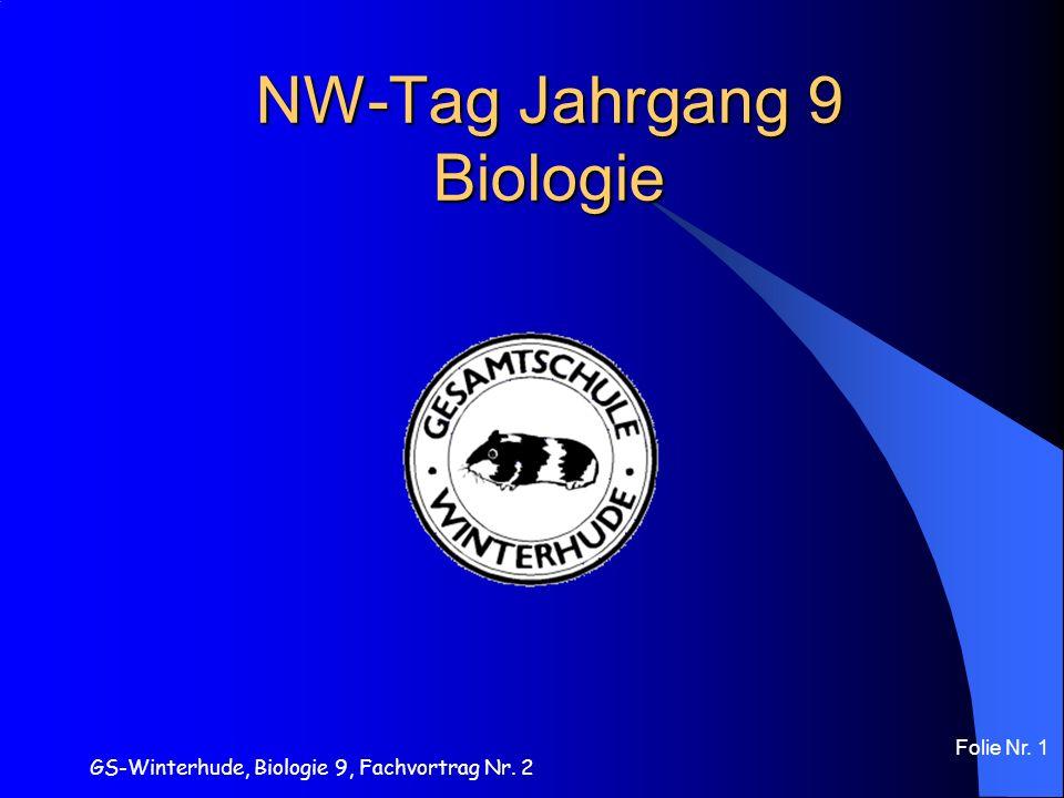 GS-Winterhude, Biologie 9, Fachvortrag Nr. 2 Folie Nr. 1 NW-Tag Jahrgang 9 Biologie