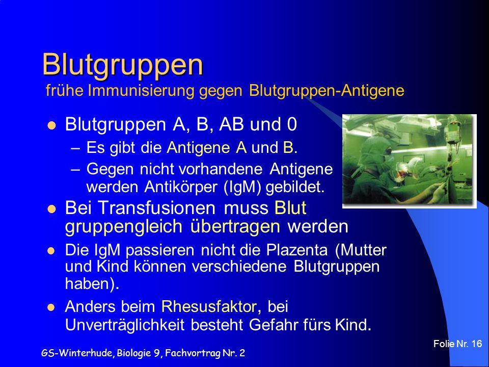 GS-Winterhude, Biologie 9, Fachvortrag Nr. 2 Folie Nr. 16 Blutgruppen Blutgruppen A, B, AB und 0 –Es gibt die Antigene A und B. –Gegen nicht vorhanden