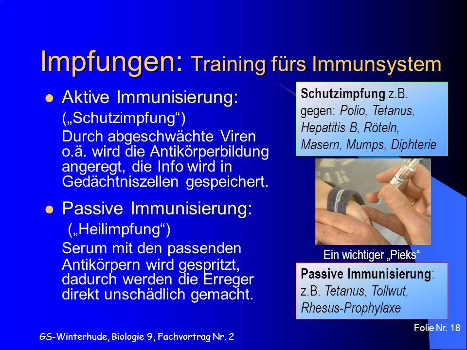 GS-Winterhude, Biologie 9, Fachvortrag Nr. 2 Folie Nr. 18 Impfungen: Training fürs Immunsystem Aktive Immunisierung: (Schutzimpfung) Durch abgeschwäch