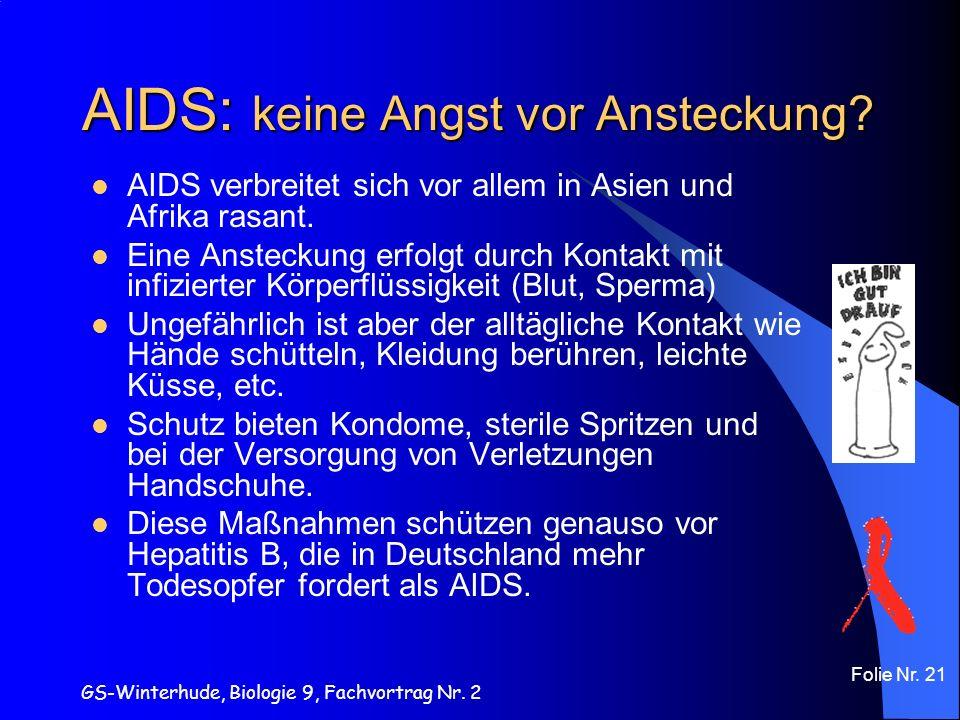 GS-Winterhude, Biologie 9, Fachvortrag Nr. 2 Folie Nr. 21 AIDS: keine Angst vor Ansteckung? AIDS verbreitet sich vor allem in Asien und Afrika rasant.
