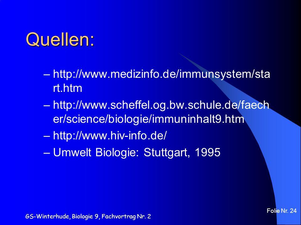 GS-Winterhude, Biologie 9, Fachvortrag Nr. 2 Folie Nr. 24 Quellen: –http://www.medizinfo.de/immunsystem/sta rt.htm –http://www.scheffel.og.bw.schule.d