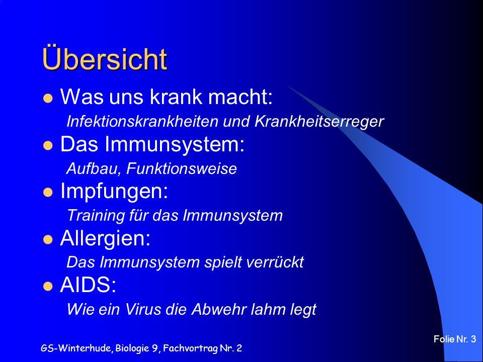 GS-Winterhude, Biologie 9, Fachvortrag Nr. 2 Folie Nr. 3 Übersicht Was uns krank macht: Infektionskrankheiten und Krankheitserreger Das Immunsystem: A