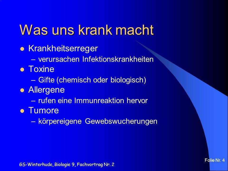 GS-Winterhude, Biologie 9, Fachvortrag Nr. 2 Folie Nr. 4 Was uns krank macht Krankheitserreger –verursachen Infektionskrankheiten Toxine –Gifte (chemi