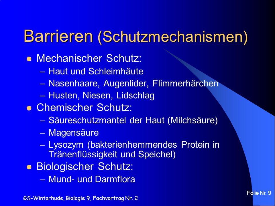 GS-Winterhude, Biologie 9, Fachvortrag Nr. 2 Folie Nr. 9 Barrieren (Schutzmechanismen) Mechanischer Schutz: –Haut und Schleimhäute –Nasenhaare, Augenl
