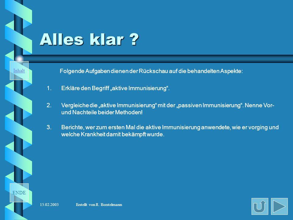 ENDE Inhalt 15.02.2003Erstellt von R.Borstelmann Alles klar .