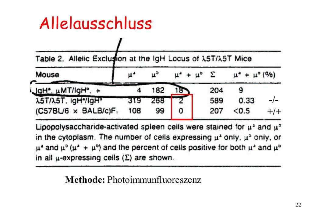 22 Allelausschluss +/+ -/- Methode: Photoimmunfluoreszenz
