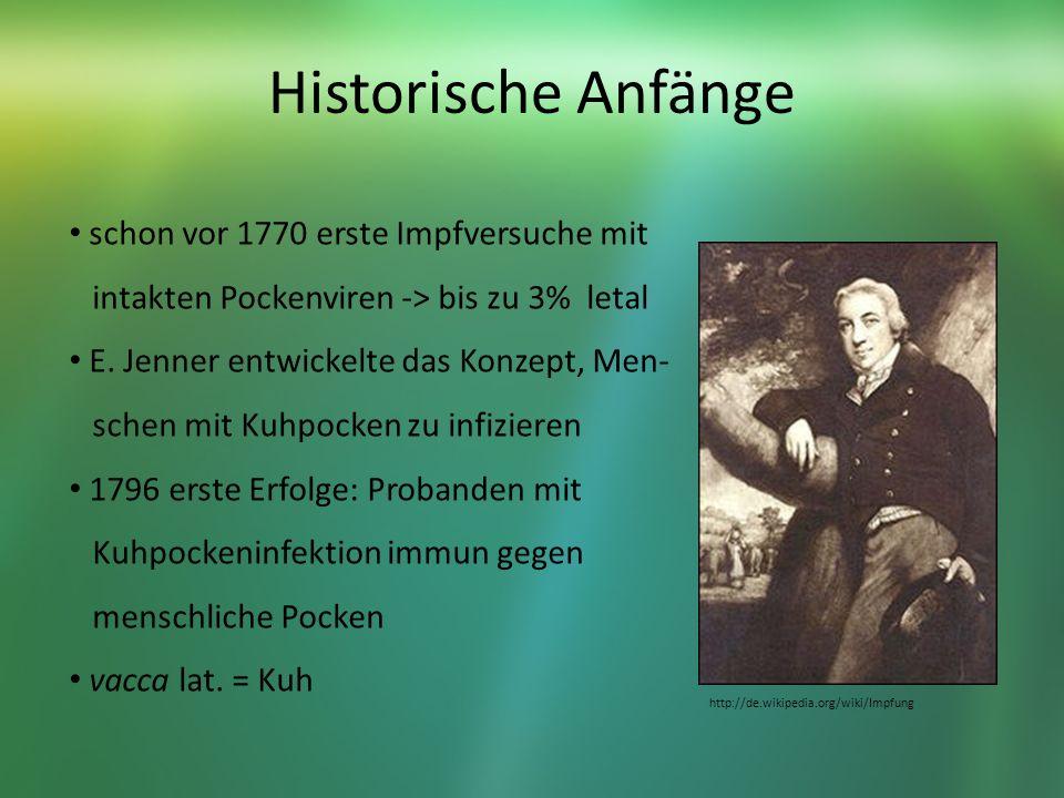 Historische Anfänge schon vor 1770 erste Impfversuche mit intakten Pockenviren -> bis zu 3% letal E. Jenner entwickelte das Konzept, Men- schen mit Ku