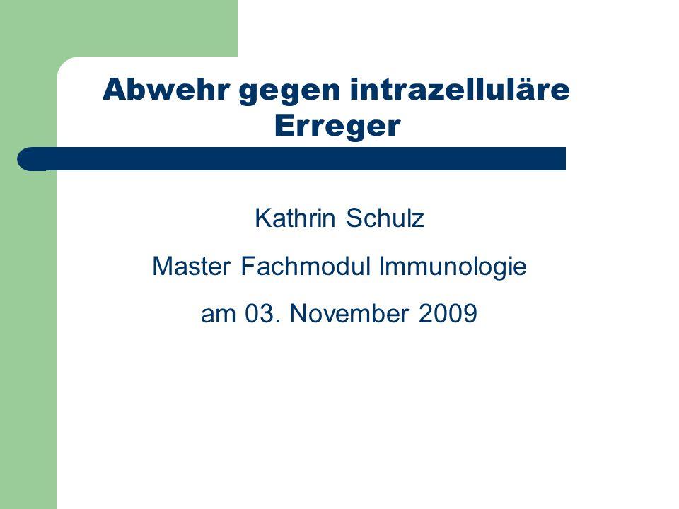 Gliederung 1) intrazelluläre Erreger 2) Mycobacterium tuberculosis Fakten 3) Abwehr T H 1-Zellen cytotoxische T-Lymphozyten (CTL) doppelt negative T-Zellen (TZ) 4) Probleme 5) Zusammenfassung