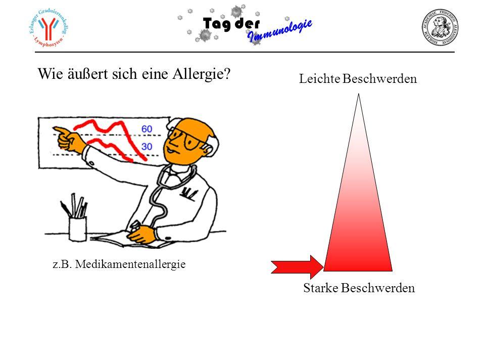 Tag der Immunologie Wie äußert sich eine Allergie? Leichte Beschwerden Starke Beschwerden z.B. Medikamentenallergie 60 40